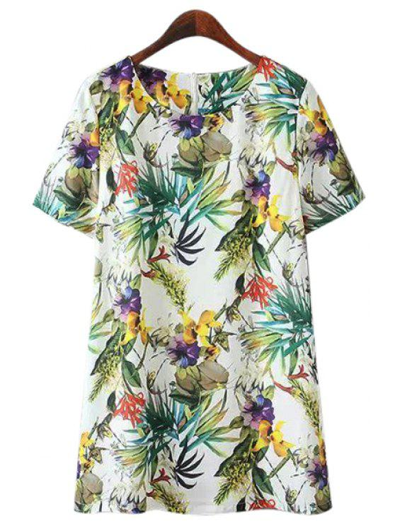 trendy Floral Short Sleeve Dress - COLORMIX M