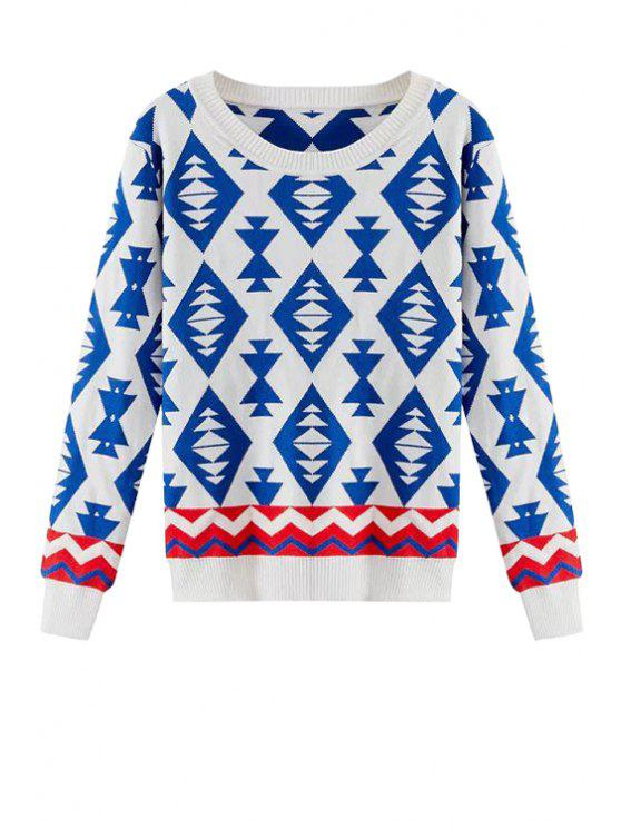 outfit Geometric Pattern Long Sleeves Sweater - BLUE M