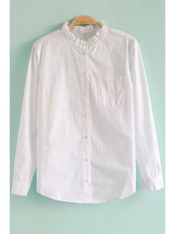 lady White Ruffled Stand Collar Shirt - WHITE M
