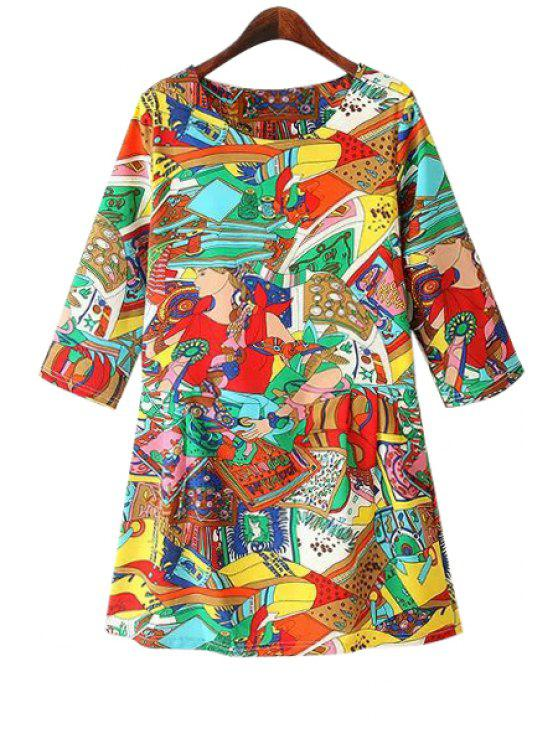 women Colorful Abstract Print 3/4 Sleeve Dress - COLORFUL M