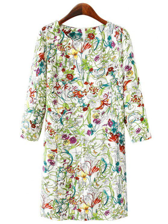 online Floral Print 3/4 Sleeves Dress - COLORMIX S