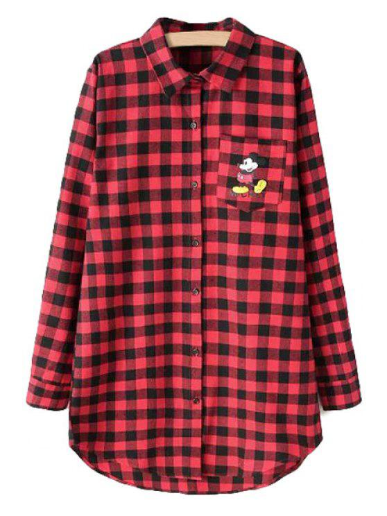 outfits Checked Cartoon Print Shirt Collar Shirt - RED S