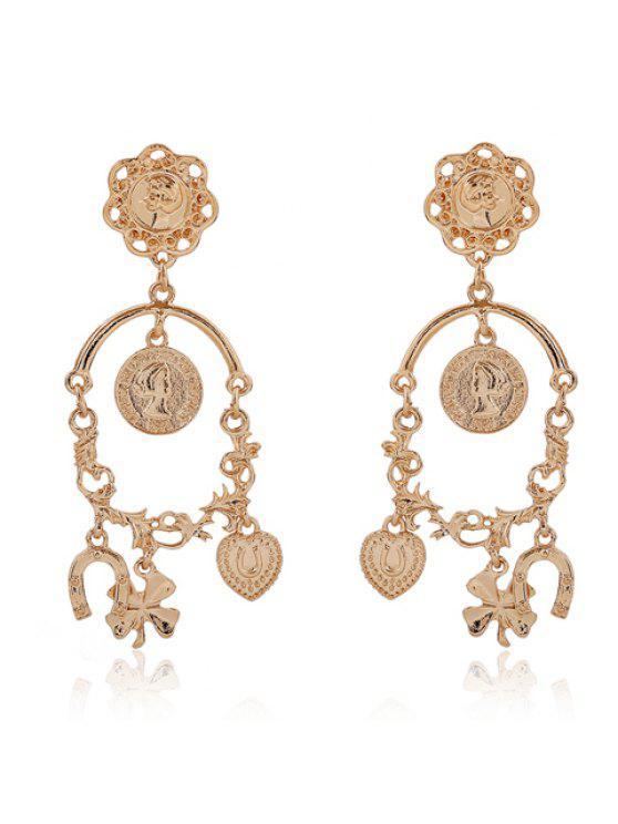 fancy Pair of Chic Women's Heart Leaf Pendant Earrings - GOLDEN
