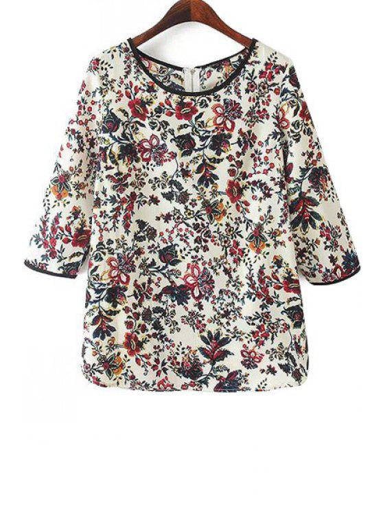 fancy Floral 3/4 Sleeve Blouse - COLORMIX M
