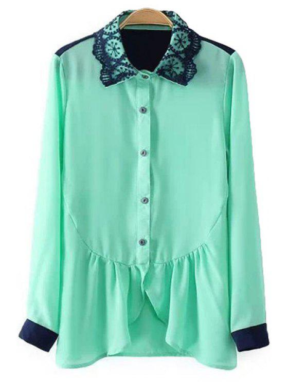 sale Ruffles Splicing Long Sleeves Shirt - GREEN S
