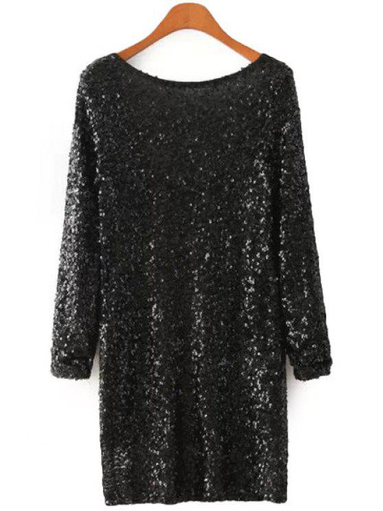 trendy Sequins Long Sleeve Black Dress - BLACK S