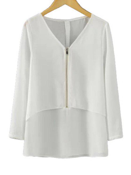 womens V-Neck Solid Color Zipper Blouse - WHITE S