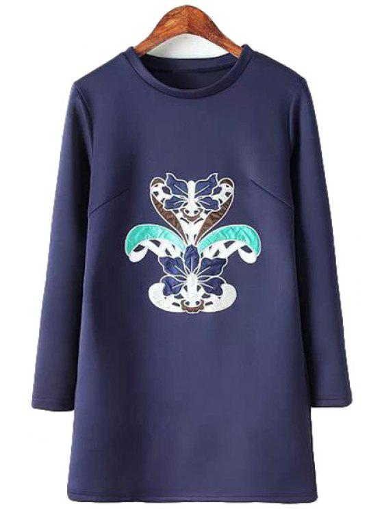fancy Patch Design Long Sleeves Dress - PURPLISH BLUE S