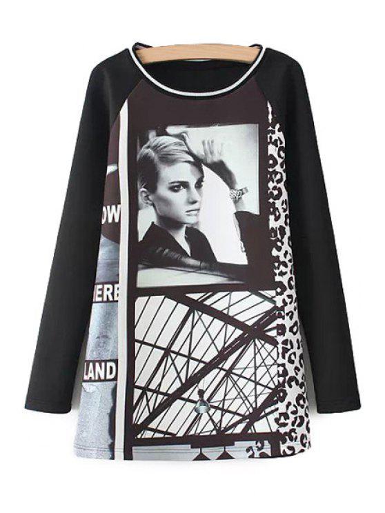 unique Women Print Long Sleeve Sweatshirt - BLACK S