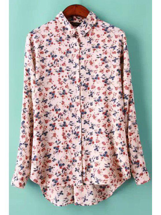 unique Tiny Floral Print Long Sleeve Shirt - PINK S