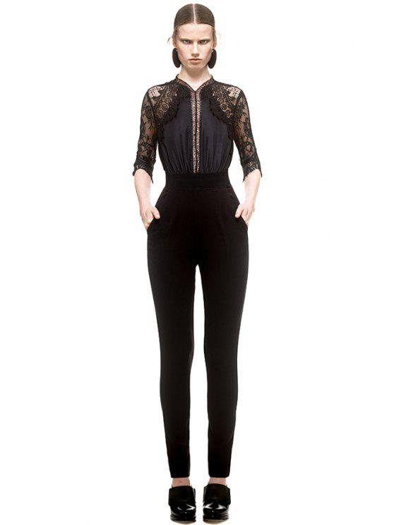 affordable Lace Splicing Half Sleeve Jumpsuit - BLACK S