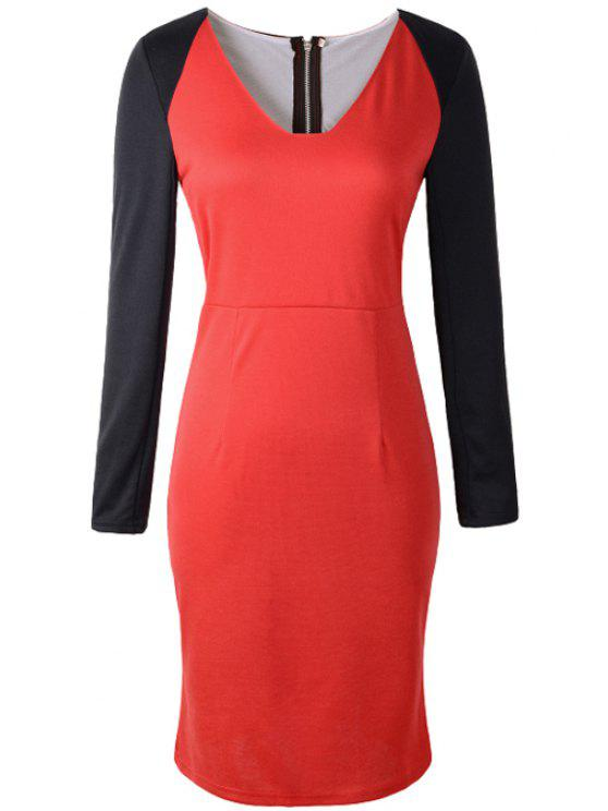 chic Color Block Bodycon Dress - RED S