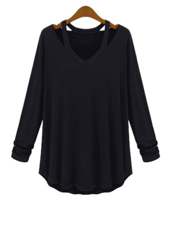 online Solid Color Loose-Fitting T-Shirt - BLACK 5XL