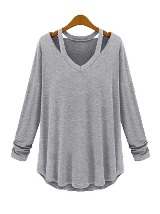 new Solid Color Loose-Fitting T-Shirt - GRAY XL