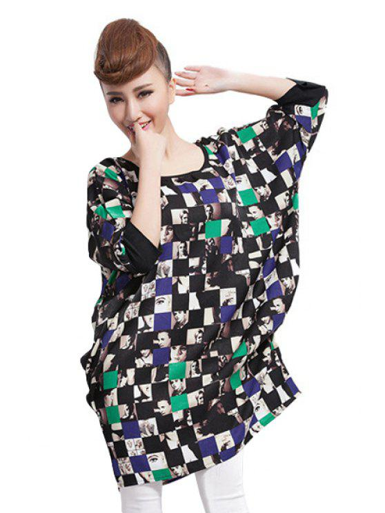 outfits Checked and Figure Print Dress - BLUE AND GREEN ONE SIZE(FIT SIZE XS TO M)