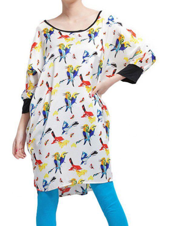 fashion Full Bird Print 3/4 Sleeve Dress - OFF-WHITE ONE SIZE(FIT SIZE XS TO M)