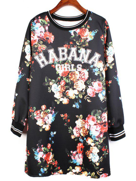 fancy Floral and Letters Print Dress - BLACK ONE SIZE(FIT SIZE XS TO M)