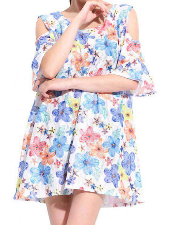 unique Flower Print Off-The-Shoulder Dress - COLORFUL 2XL