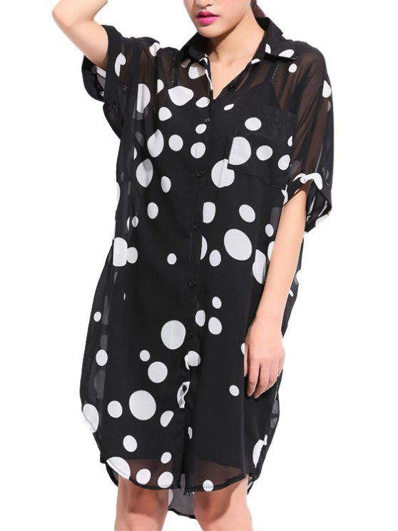 new Polka Dot Print Short Sleeve Shirt - BLACK 2XL