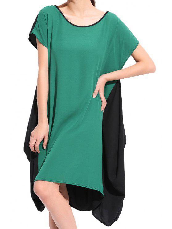 shops Color Block Short Sleeves Dress - GREEN 2XL