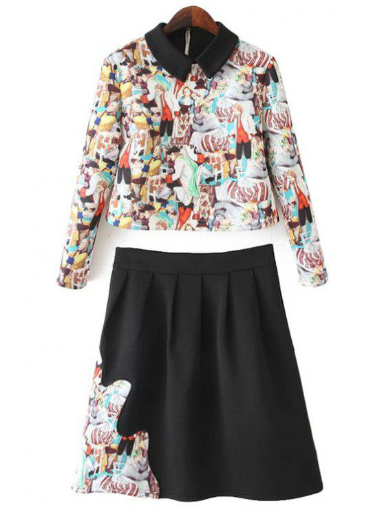 ladies Figure Print Shirt and A-Line Skirt Suit - COLORMIX S