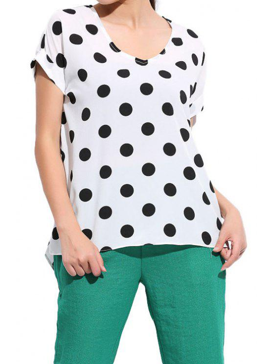 best Polka Dot Short Sleeve Blouse - WHITE L
