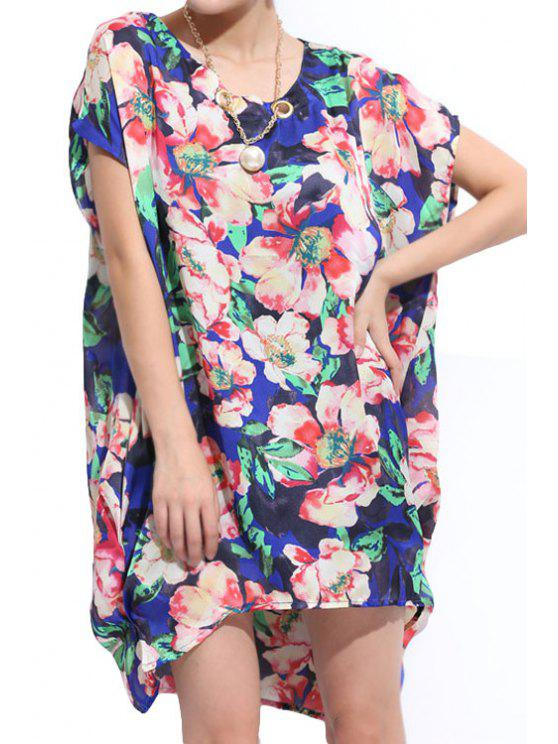 shops Floral Pattern Short Sleeves Dress - COLORMIX 2XL