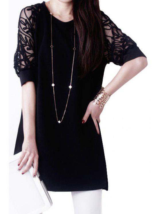women's Half Sleeve Voile Splicing Dress - BLACK XL