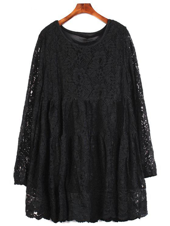 best Solid Color Lace Blouse - BLACK XL
