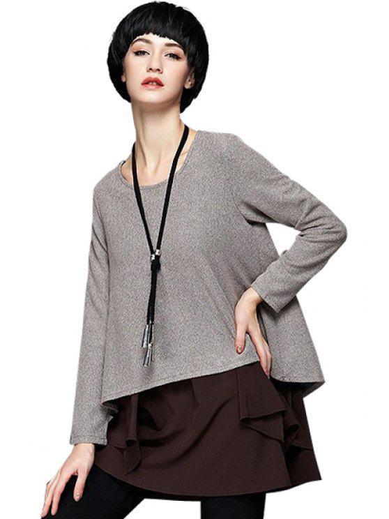 shop Chiffon Splicing Long Sleeves Dress - KHAKI L