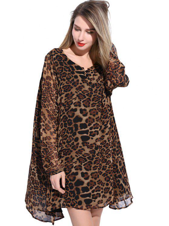trendy Leopard Print Chiffon Dress - COFFEE XL