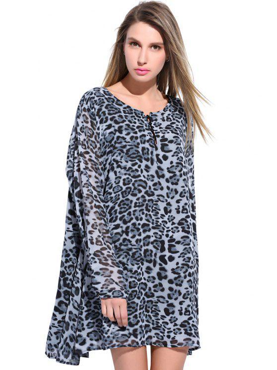 Gray Print Chiffon Dress