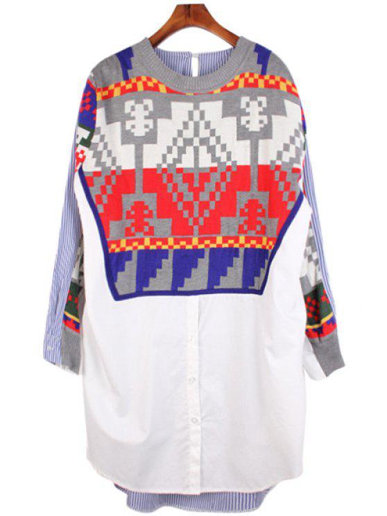 shop Striped Knit Splicing Shirt - WHITE XL