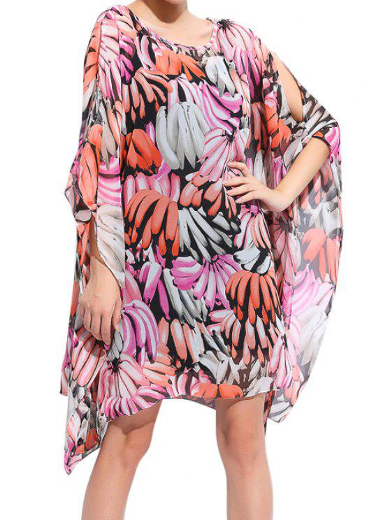 shops Banana Print Chiffon Dress - COLORMIX ONE SIZE(FIT SIZE XS TO M)