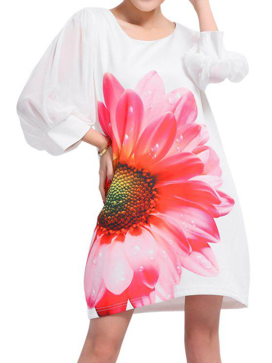 affordable Flower Print 3/4 Sleeve Dress - WHITE 2XL