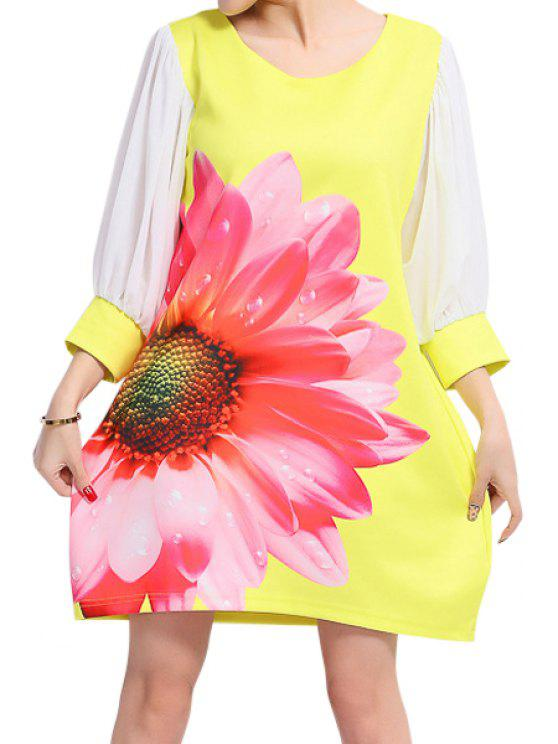 womens Flower Print 3/4 Sleeve Dress - YELLOW 2XL
