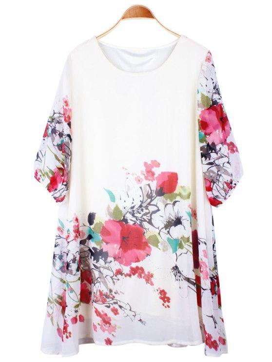 online Floral Print Half Sleeve Dress - WHITE ONE SIZE(FIT SIZE XS TO M)