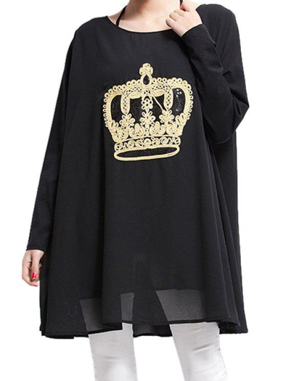 buy Crown Embroidery Long Sleeve Dress - BLACK ONE SIZE(FIT SIZE XS TO M)