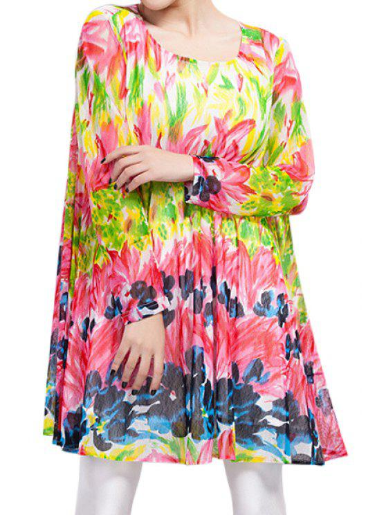 ladies Colorful Floral Voile Dress - COLORFUL ONE SIZE(FIT SIZE XS TO M)