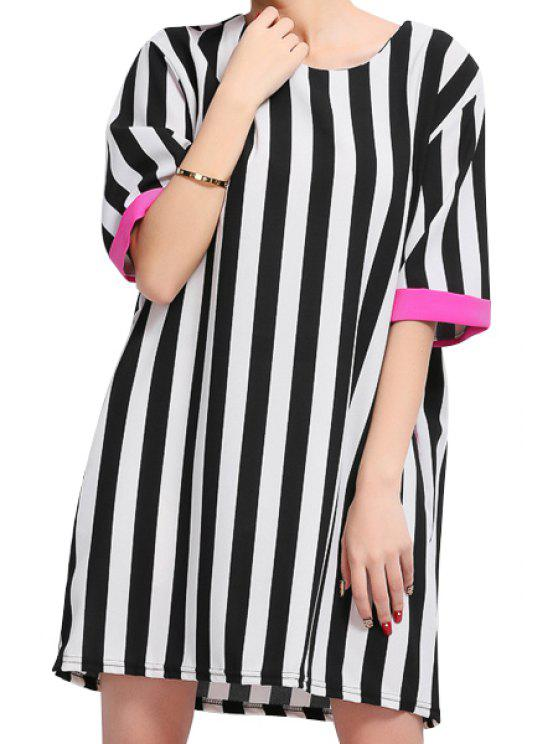 trendy Striped Pattern Half Sleeve Dress - PLUM 3XL