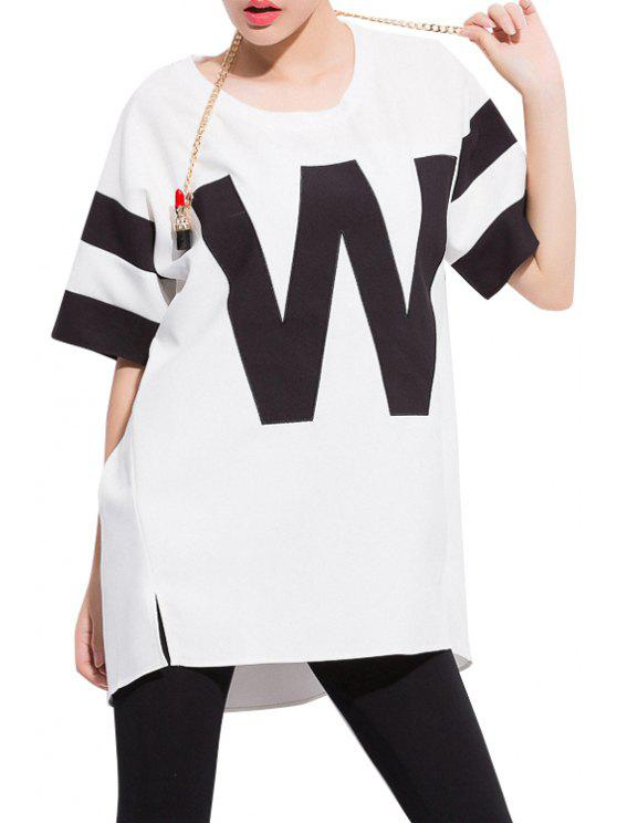hot Letter Embroidery Short Sleeve T-Shirt - WHITE 2XL