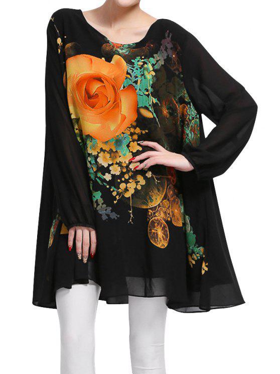 hot Floral Long Sleeve Chiffon Dress - BLACK 2XL