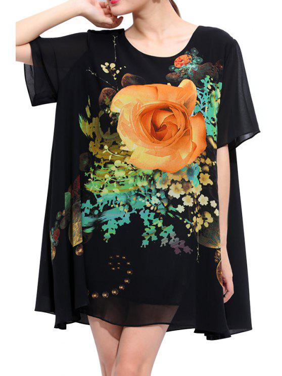 outfits Floral Short Sleeves Chiffon Dress - BLACK 2XL