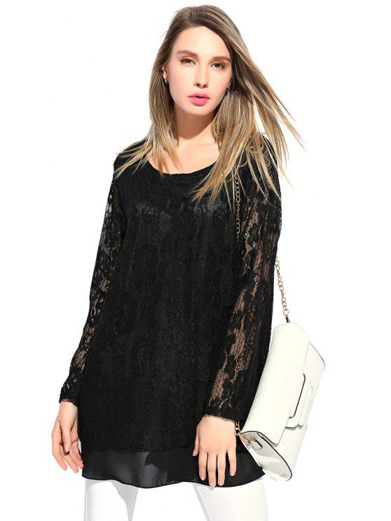 buy Chiffon Splicing Lace Dress - BLACK XL