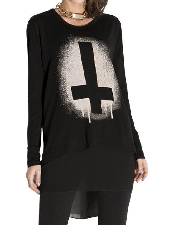 fashion Cross Print Chiffon Splicing T-Shirt - BLACK XL