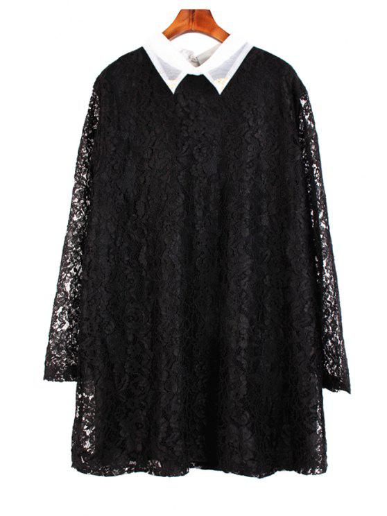 new Lace Turn-Down Collar Dress - BLACK ONE SIZE(FIT SIZE XS TO M)
