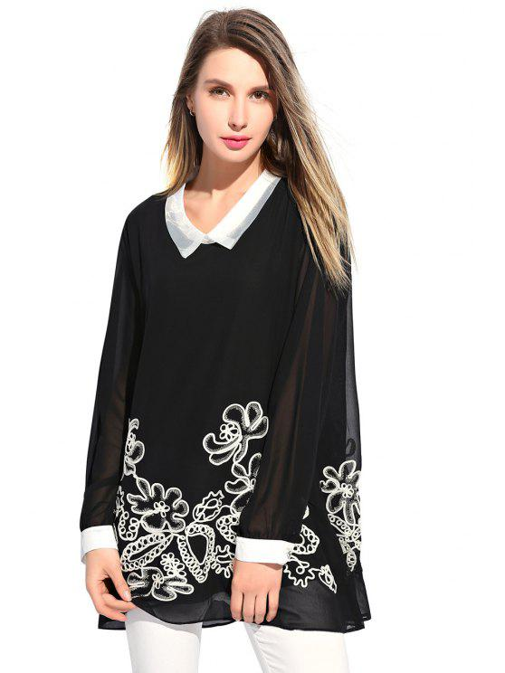shops Floral Embroidery Chiffon Dress - BLACK XL