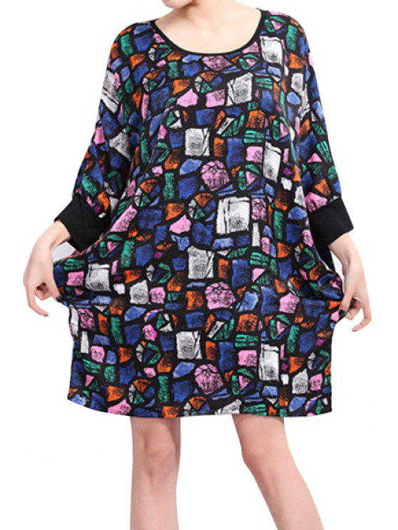 outfits Print Half Sleeve Loose-Fitting Dress - BLACK ONE SIZE(FIT SIZE XS TO M)