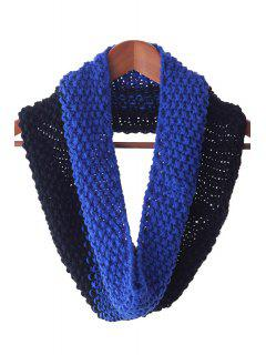 Color Block Knitted Neck Warmer - Blue And Black