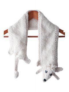 Artificial Wool Poodle Shape Scarf - White